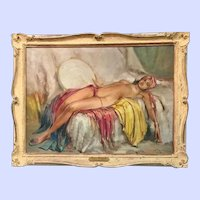 Nude with Tambourine, Durando Togo Richard, Original Oil on Canvas