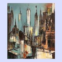 Painting-New York Cityscape, Art Moderne