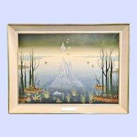 """French """"Surrealist"""" Landscape, Emile Mahler, Dated 1978"""