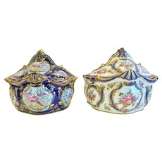 Pair of 19th Century Porcelain Bulb Pots, Sevres