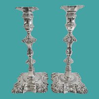 Pair of George II Silver Candlesticks, London 1759-1760