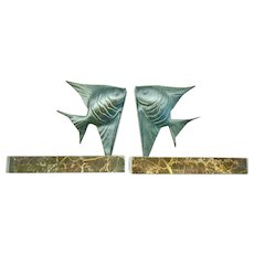 """Bookends, French Art Deco Angelfish,  Signed """"Direnn"""", CA.1920's"""