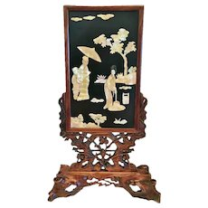 Chinese Table Screen, Lacquer,Rosewood,M.o.P., CA.1910