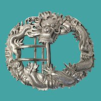 Chinese Silver Dragon Buckle, CA.1900