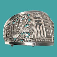 Chinese Silver Double Dragon Cuff Bracelet, CA.1900