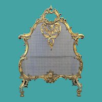 Antique French Dore' Bronze Firescreen, Louis XV Style, CA.1880
