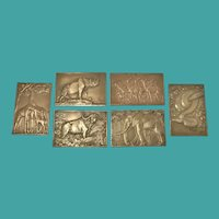 Set of 6 Bronze Plaques, French, R.F.Thenot-Paris 1930