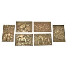 Set of 6 Bronze Plaques, French, R.F.Thenot-Paris 1930