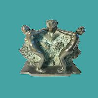 French Bronze of 2 Women Repelling a Satyr, 1920