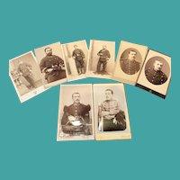 8 Antique Military Photos/Carte de Visite, 19th Century
