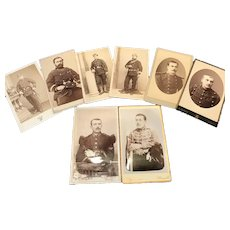 8 Antique Military Photos/Carte de Visite, 19th Century