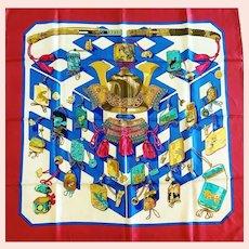 "Hermes Silk Scarf, ""Reveries Japonaises"", 1970's"