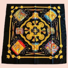 "Hermes Silk Scarf, ""Les Tambours"", 1989"