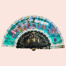 """Chinese Laquered """"Thousand Face"""" Hand Fan ,19th C."""