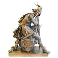 """""""El Cid"""", Figure by Eugene Laurent, 19th C."""