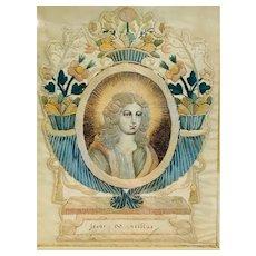 Antique Silk Needlework of Jesus Christ, Lyon France, 1720-1740