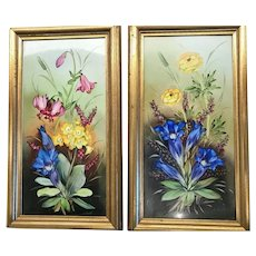Pair of Hand Painted Porcelain Plaques, CA.1930-1940