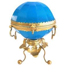 Antique French Blue Opaline Jewel Casket, CA.1860
