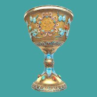 Antique Chinese Gilt Silver Chalice, Enamel & Gemstones