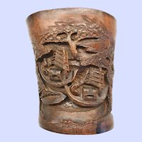 Antique Chinese Bamboo Brush Pot, 19th C.