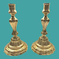 Pair of Period French Bronze Candlesticks, Louis XV-XVI