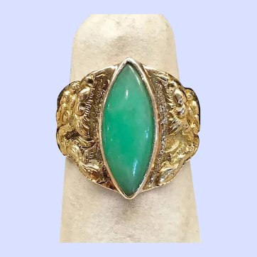 Apple Green Jade Double Dragon Ring, 18kt