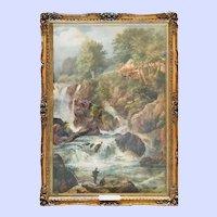 "Original Watercolor ""Fishing at the Falls"", Frederick Hulme, 19thC"