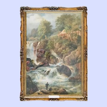 "Original Watercolor ""Fishing at the Falls"", Frederick Hulme, 19thC"