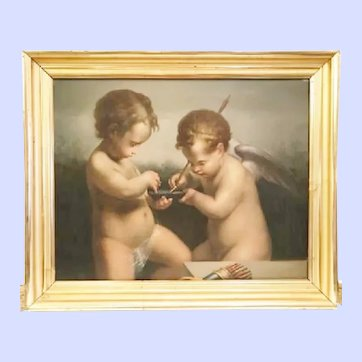 19th C Italian Painting of Cupid & Putti