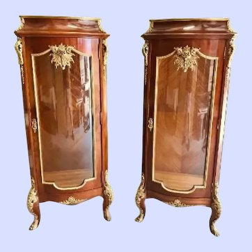 "Elegant Pair of Dore' Bronze Mounted ""Louis XV"" Vitrines, CA.1890"