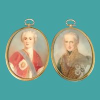 Pair of Miniature Portraits, Austrian Emperor, 19th C.
