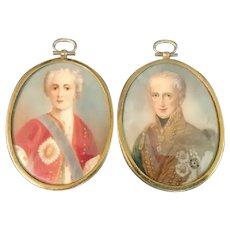 Pair of Miniature Portraits, Austrian Emperor, 19th C.
