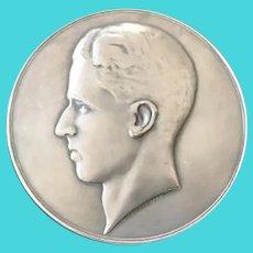 "Belgian Silver Medallion, ""King Baudouin"", 5th King of Belgium"