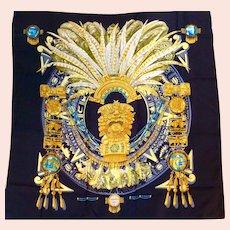 "Hermes Silk Scarf, ""Mexique"" or ""Aztec"""
