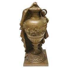 Bronze Classical Draped Urn, 19th Century