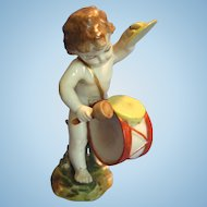 Antique Porcelain Figure of a Putti with Drums & Cymbals, Vienna