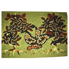 Vintage Mid-Century Moderne Tapestry by French Artist Raymond Hurtu, CA.1960's