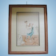 "Original Watercolor by Albert Penot, ""French Maid"", CA.1910"