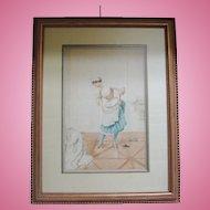 "Original Watercolor by Albert Penot, ""French Maid"", CA.1910"