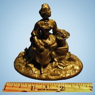 Antique Miniature French Bronze of Lady with Basket of Flowers, CA.1880