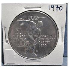 Vintage Large Silver Panama Coin, 5 Balboas, Pan Am Games