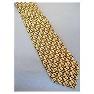 CHRISTIAN DIOR Logo Print Camel Brown Print Silk Tie