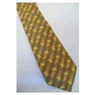 GIORGIO ARMANI  Navy, Mustard, Sage Bias Print Dobby Weave Silk Tie