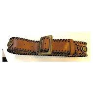 1980s DOLCE & GABBANA Sun Disc Coin Leather Belt