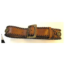 1980s DOLCE & GABBANA Sun Disc Coin Leather Belt