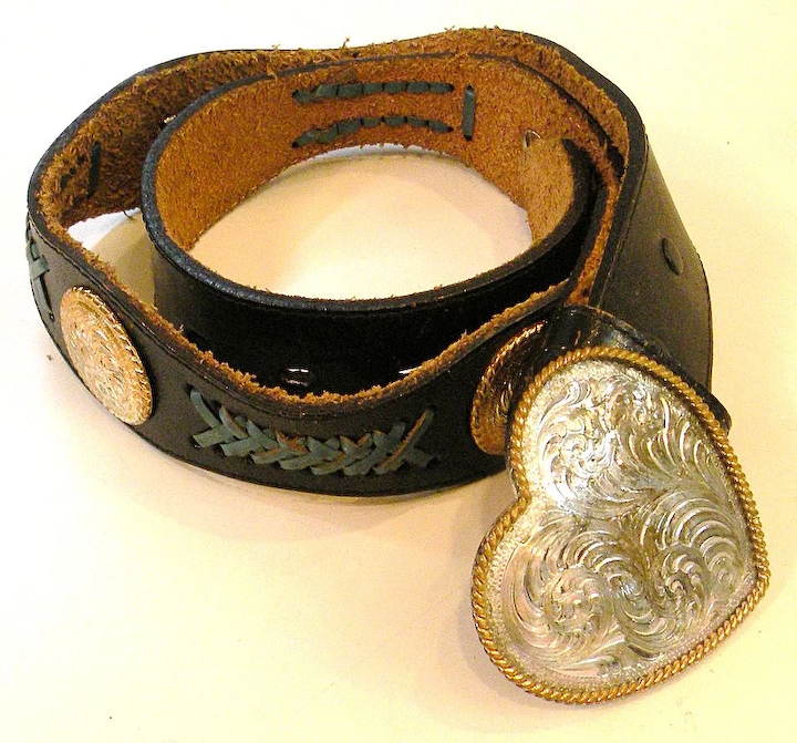 1970s Black Leather Heart Buckle And Concho Belt With Turq Lacing