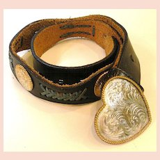 1970s Black Leather Heart Buckle and Concho Belt with Turq Leather Lacing