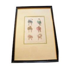Lovely Matted and Framed Print 1832 Milliner's Hat Advertising Sketch