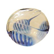 PETER BRAMHALL Cobalt and Clear Modernist Hand Blown Round Art Bowl-Dated 7/18/82