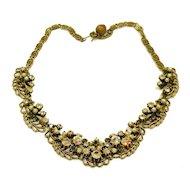 FLORENZA Fabulous Aurora Borealis Rhinestone and Brass Necklace